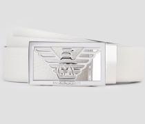 Wendbarer Ledergürtel mit Logoschnalle