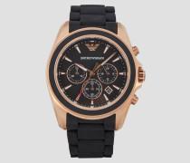 Chronograph mit Armband aus Mattem Silikon und Details mit Plattierung in Roségold