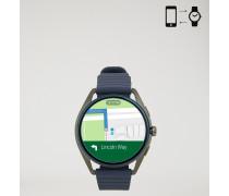 Smartwatch mit Touchscreen, Gehäuse aus Stahl und Armband aus Gummi
