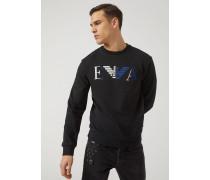 Sweatshirt aus Baumwolle mit Ea Logo-print und -stickerei