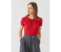 Bluse aus Cady mit Plissiertem Ausschnitt