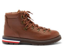 Logo-appliqué Grained-leather Hiking Boots