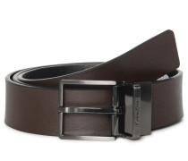 Wendegürtel aus Leder schwarz/braun