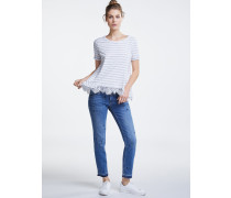 Kurzarm T-Shirt weiß/grau