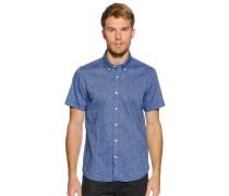 Kurzarmhemd mit Leinen blau