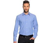 Langarm Hemd Slim Fit blau/weiß gestreift