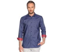 Langarm Flanellhemd Regular Fit blau
