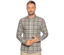 Langarm Hemd Regular Fit grau/beige