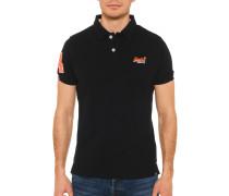 Kurzarm Poloshirt Slim Fit schwarz