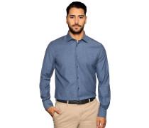 Business Hemd Custom Fit blau meliert