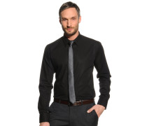 Hemd Slim Fit + Krawatte schwarz