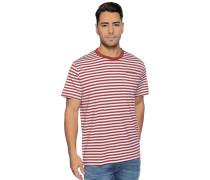 Kurzarm T-Shirt rot/weiß