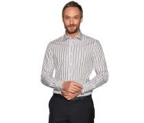 Business Hemd Custom Fit weiß/navy/oliv