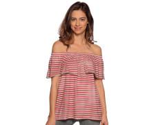 Kurzarm T-Shirt rot/beige gestreift