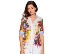 Langarm Bluse weiß/mehrfarbig