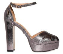 Plateau High Heels anthrazit metallic