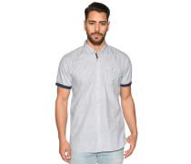Kurzarmhemd Custom Fit, weiß/navy