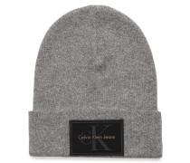 Mütze mit Kaschmiranteil grau meliert