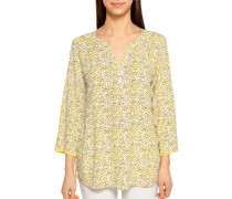 Langarm Blusenshirt gelb/weiß
