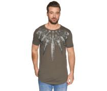 Kurzarm T-Shirt mit Frontprint Schwert khaki