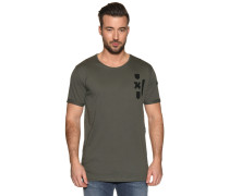 Kurzarm T-Shirt mit Patches khaki