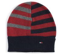 Mütze mit Kaschmiranteil blau/rot/grau