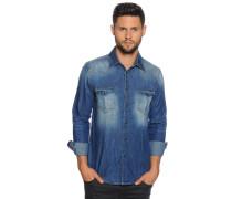 Langarm Jeanshemd Custom Fit blau