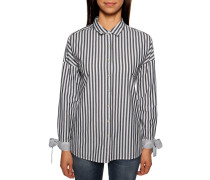 Langarm Bluse grau/weiß