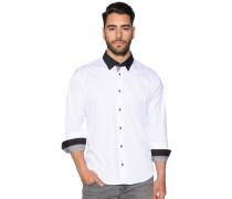 Langarm Hemd Slim Fit weiß/schwarz