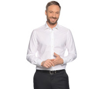 Langarm Hemd Regular Fit mit Leinen weiß