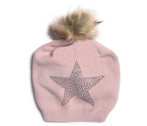 Mütze mit Kaschmir rosa meliert