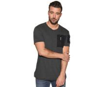 Kurzarm T-Shirt zipbare Brusttasche anthrazit meliert