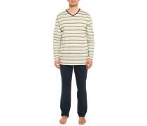 Pyjama navy/weiß/gelb