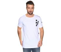 Kurzarm T-Shirt mit Patches weiß