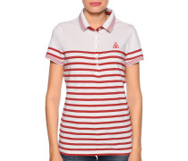 Kurzarm Poloshirt weiß/rot