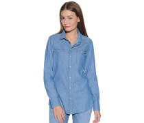 Langarm Jeansbluse blau