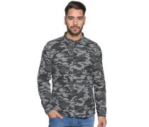 Langarm Hemd Custom Fit grau/schwarz