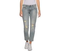 Jeans Straight Cropped Lana hellblau