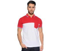 Kurzarm Poloshirt rot/weiß