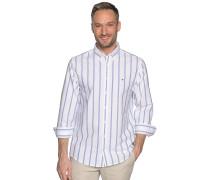 Langarm Hemd Custom Fit weiß/blau