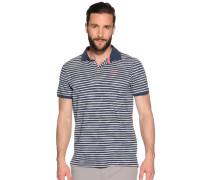 Kurzarm Poloshirt graublau/weiß gestreift