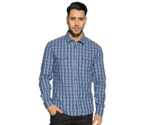 Langarm Hemd Custom Fit blau kariert