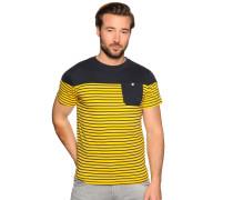 Kurzarm T-Shirt gelb/navy