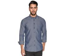 Langarm Hemd Custom Fit blau meliert