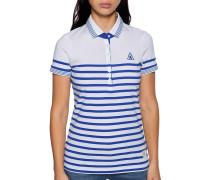 Kurzarm Poloshirt weiß/blau