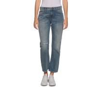 Jeans Straight Cropped Lana blau