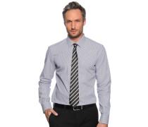 Langarm Hemd Custom Fit weiß/navy gestreift