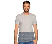 Kurzarm T-Shirt grau meliert/blau