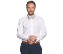 Hemd Slim Fit + Fliege weiß/grau