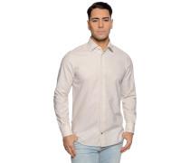 Langarm Hemd Regular Fit mit Leinen beige